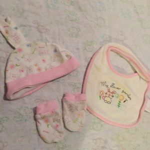 Other - Baby hat, bib, and mitten set with bunny design